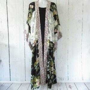 Gigio By Umgee Duster Kimono Floral Lace Boho
